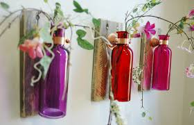 tropical sunset wall decor collection of colored bottles each