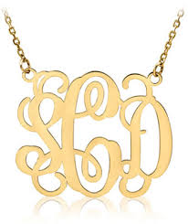 Monogrammed Necklace Monogram Necklace 14k Yellow Gold