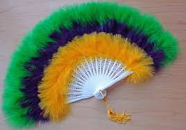 feather fan 3 colors mardi gras feather fan in green gold and purple