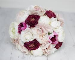 burgundy roses roses ranunculus blush white and magenta burgundy bouquet