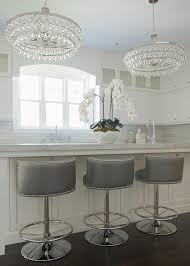 Robert Abbey Bling Chandelier Gray Swivel Barrel Back Counter Stools Transitional Kitchen