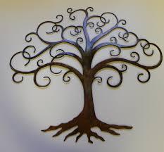 tree of swirled tree of metal wall decor by