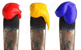blue paints red yellow and blue paint on paintbrushes stock photo picture