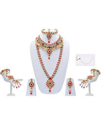 red necklace online images Lucky jewellery red alloy kundan bridal necklace set buy lucky jpg