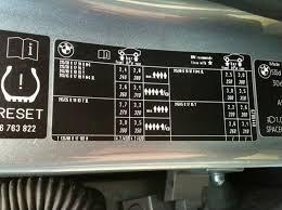 bmw 3 series tyre pressure tyre pressure e60 e61 2004 2010 bmw 5 series owners board