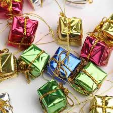 assorted miniature foil gift boxes ornaments