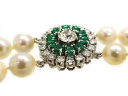 emerald pearl necklace images Cultured pearl double strand necklace with emerald diamond clasp jpg