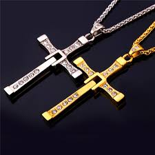 metal cross necklace images Stainless steel cross necklace gold color classic fast and furious jpg