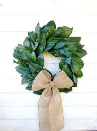 decor diy magnolia wreath with big brown bow and green leaf