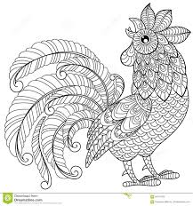 rooster in zentangle style symbol of chinese new year 2017