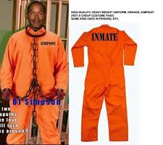 Halloween Jail Costumes Oj Simpson Orange Inmate Jumpsuit Prison Jail Halloween