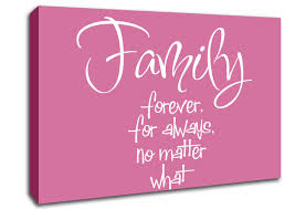 family forever for always pink text quotes canvas stretched canvas