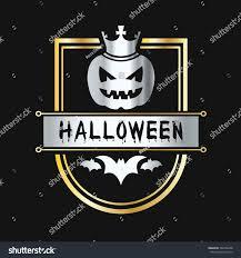 happy halloween pumpkin bat badge emblem stock vector 502746208