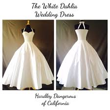 the white dahlia sateen wedding dress rockabilly 1950s style