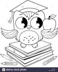 owl on books with graduation hat coloring book page stock vector