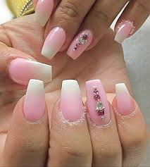 barbie pink and white acrylic nails nail art gallery