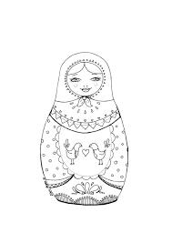 Printable coloring page  Matryoshka with birds  Correspondant et