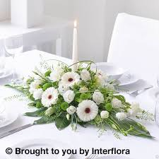 shimmering white table top candle arrangement floral table