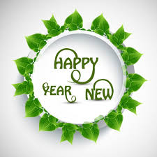 happy green color happy new year text with green leaves vector free download