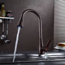 rubbed bronze pull kitchen faucet kes l6910 7 solid brass single lever high arc pull kitchen