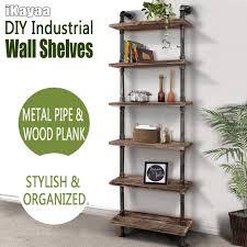 Wooden Ladder Bookcase by Wood Ikayaa 6 Tier Rustic Industrial Ladder Wall Shelves Lovdock Com