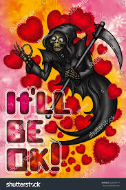 halloween background funny funny halloween valentine card grim reaper stock illustration