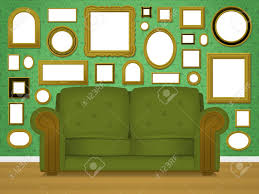retro livingroom retro living room interior with picture frames royalty free