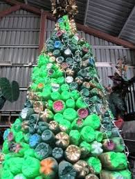 christmas tree made from recycled soda bottles recycle