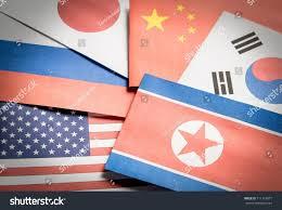 The Flag Of Usa Flag North Korea South Korea United Stock Foto 711357871