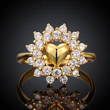 big flower rings images Big flower style yellow gold plated engagement ring for womens jpg
