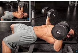incline barbell bench press chest exercise with dumbbells and
