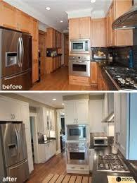 Updating Oak Kitchen Cabinets Before U0026 After Oak Kitchen Cabinets Painted White With Hickory