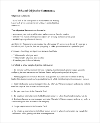 resume objective statements general resume objective sle 9 exles in pdf