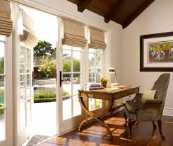 roman shades french doors home office traditional with cape cod