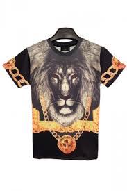 black short sleeves gold chain lion print t shirt print tops