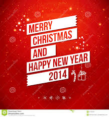 merry and happy new year 2014 card stock illustration