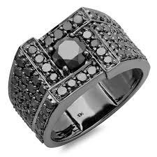 mens black engagement rings 4 50 carat ctw 10k white gold cut black mens ring