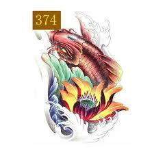 manzilin 5pcs set koi fish waterproof temporary tattoos for