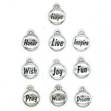 inspirational charms 100pcs 10 words inspirational charms collection silver tone