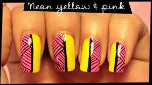 neon yellow u0026 pink nail art youtube