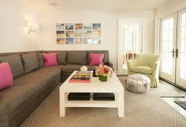 livingroom sectional living room gray sectional sofa with pink pillows jute