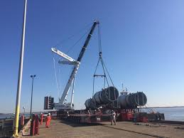 Heavy Lifting Off Barge From Dock Amquip