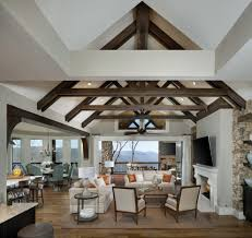 exposed beams and rafters living room traditional with casual