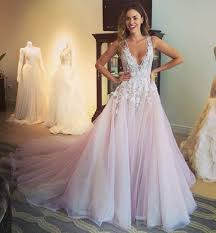 v neck lace wedding dresses a line tulle prom dress with
