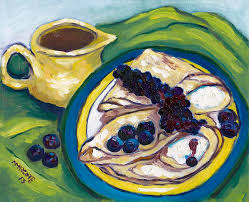 marcotte cuisine blueberry crepes painting by marcotte