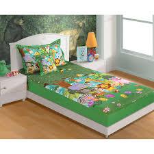 swayam cotton single kids bed sheet set sbk134jungle kids