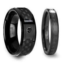 matching wedding bands lethe black ceramic ring with black carbon fiber inlaid s