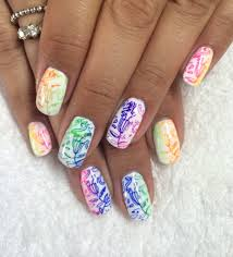 neon gradient shellac nails with mundo de unas nail stamping