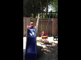 Flexible Flyer Backyard Swingin Fun Metal Swing Set 3 Year Old Playing On The Flexible Flyer Swing Set Youtube