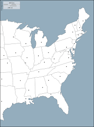 Map Of United States Capitals by East Coast Of The United States Free Map Free Blank Map Free